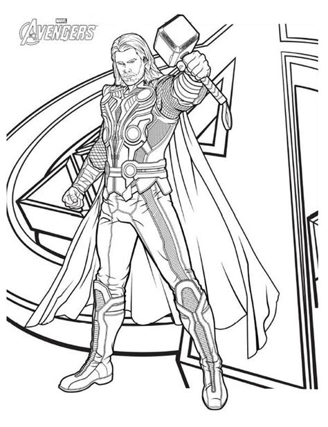 avengers character thor coloring page  print