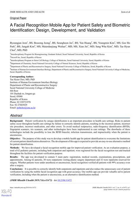(PDF) A Facial Recognition Mobile App for Patient Safety