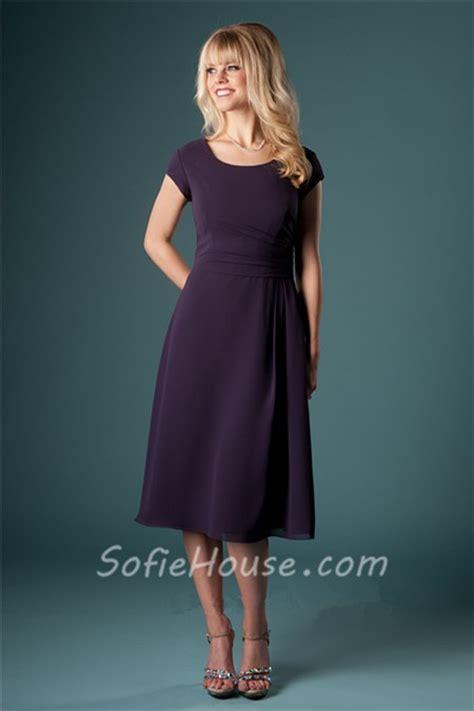 modest sheath dark purple chiffon short sleeve wedding