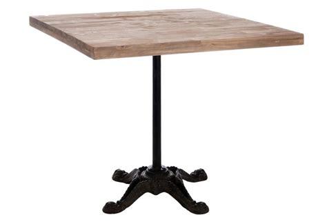 table de cuisine pied central table bistro carre en métal et plateau bois naturel