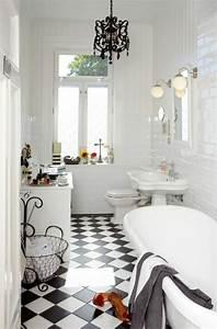 Carrelage Salle De Bain Noir Et Blanc : le carrelage damier noir et blanc en 78 photos ~ Dallasstarsshop.com Idées de Décoration