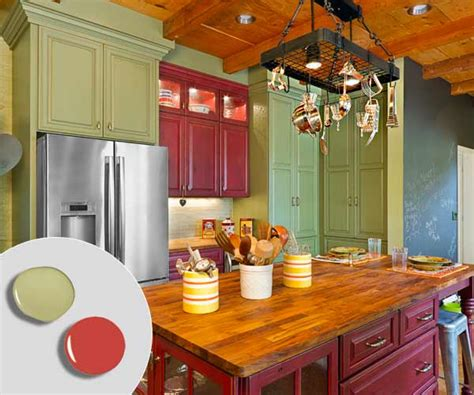 barn red sage green  kitchen cabinet color combos
