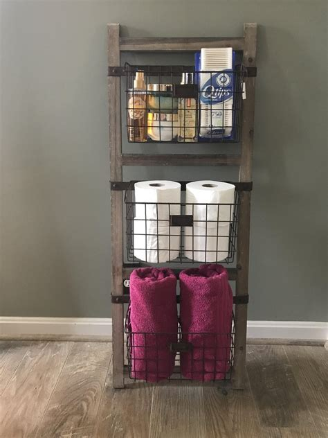 Wooden Ladder Shelf With Wire Baskets ? Farmhouse Fresh Home