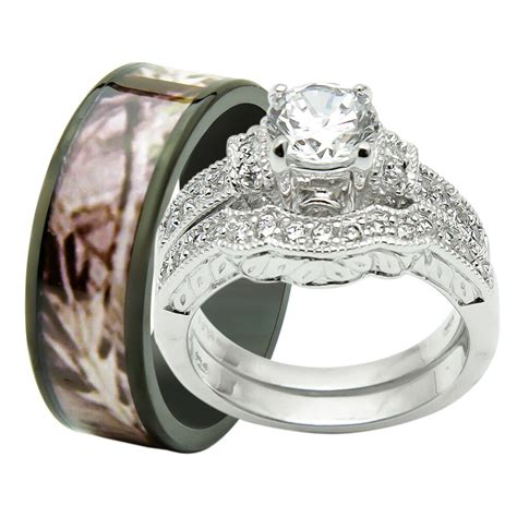 his hers 3pcs titanium camo 925 sterling silver engagement wedding rings ebay