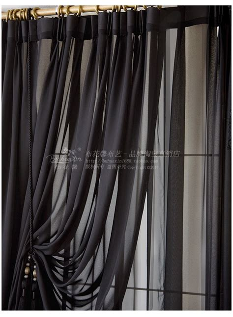 2014 new solid screens custom black sheer curtains black