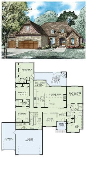 brick home floor plans one floor plan for 2405 sq ft with 3 car