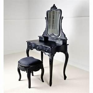 Antique Portable Small Black Vanity Table Adorned Unique