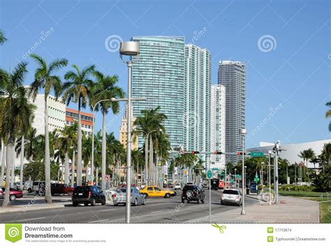 biscayne boulevard in miami editorial stock image image