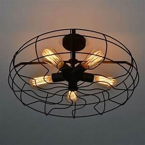 All Black Ceiling Fan With Light Vintage Retro Industrial Fan Ceiling Lights American