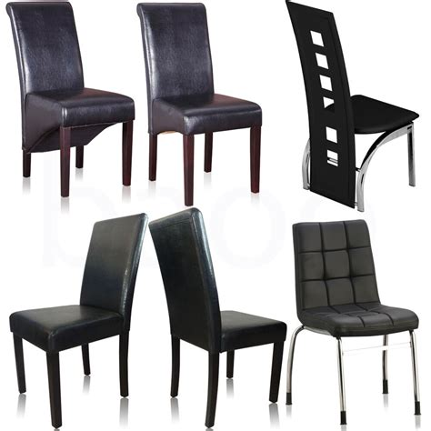 dining chairs black faux leather chrome legs dining room