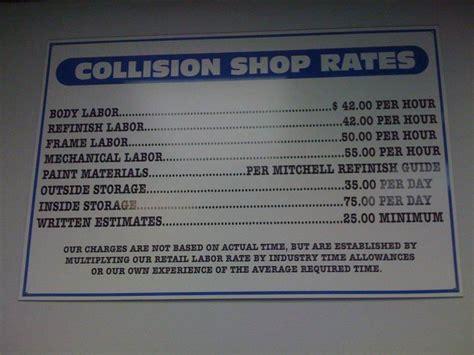 auto body shop rates sign mechanic shop shop signage