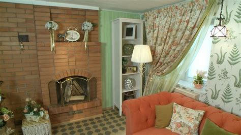 cozy provence style living room in mint and coral home