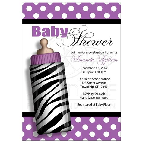 Purple Baby Shower Invitations by Baby Shower Invitations Zebra Print Baby Bottle Purple
