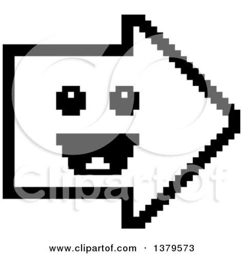 bit clipart black and white clipart of a black and white happy arrow in 8 bit style