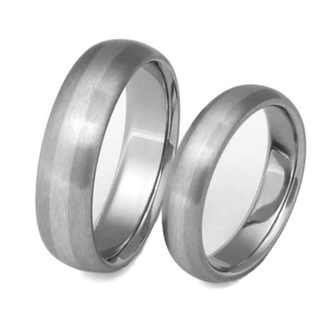 matching titanium platinum wedding band set stp