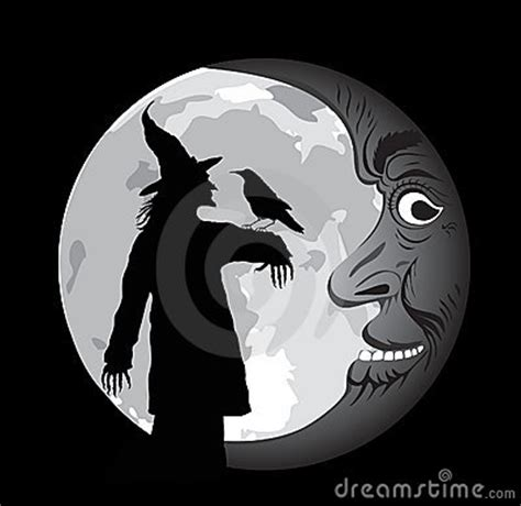 stock photo vectormoon face  witch image