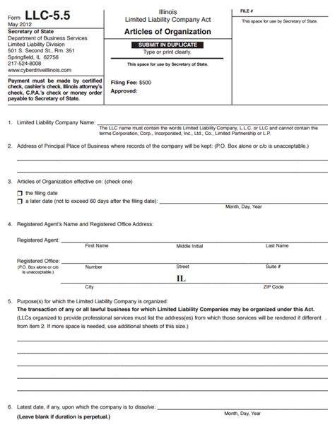 secretary  state forms  template form