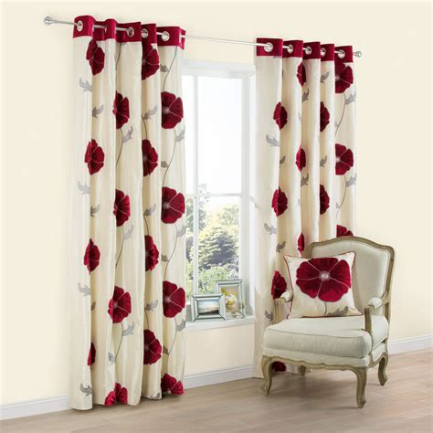 Lilium Cream & red Poppy Applique Eyelet Lined Curtains (W