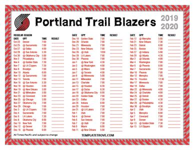 printable   portland trail blazers schedule