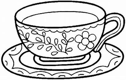 Tea Cup Coloring Cups Colouring Pages Embroidery