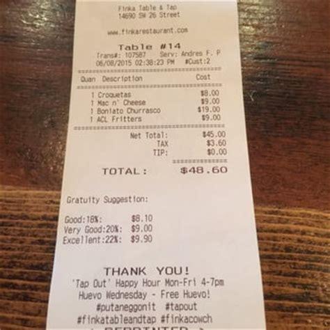 finka table and tap menu finka table tap miami fl united states the bill