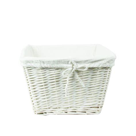 panier a linge en osier blanc panier osier blanc avec housse tissu blanc panier en osier