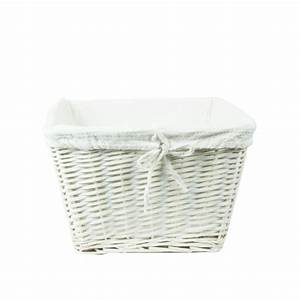 Panier A Linge Blanc : panier osier blanc avec housse tissu blanc panier en osier ~ Teatrodelosmanantiales.com Idées de Décoration