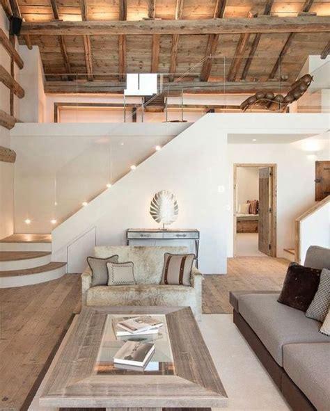 deco salon deco contemporaine toiture en bois canape