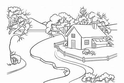 Coloring Landscape Winter Vector Illustrations