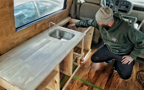 Ideas For Refinishing Kitchen Cabinets - how we made custom kitchen cabinets for our diy van build gnomad home