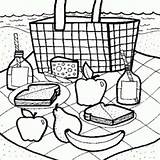 Coloring Picnic Bench Cooking Mom Kitchen Template sketch template