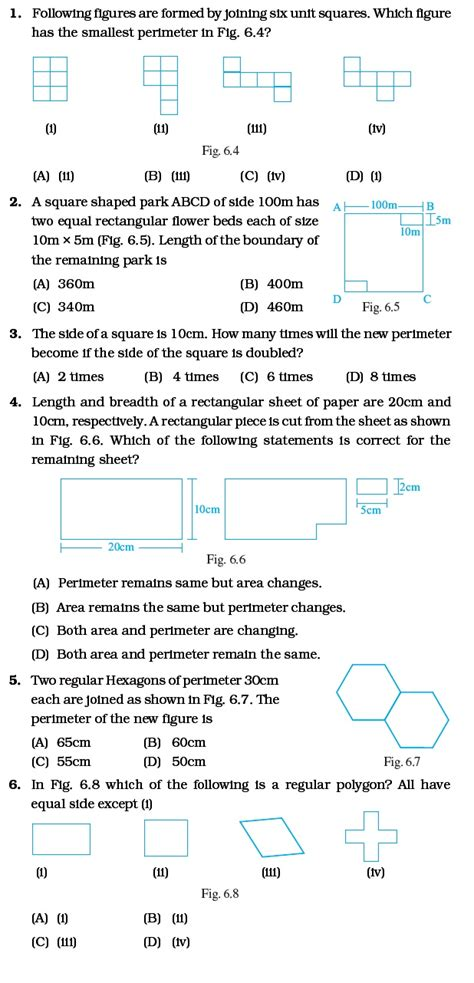 class 6 important questions for maths mensuration