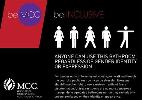 Gender Inclusive Bathroom Sign by Gender Inclusive Bathrooms Mcc Cape Town