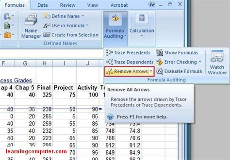 excel formulas tab