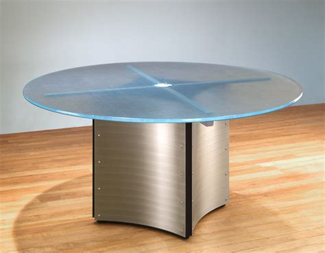 """Modern Round Conference Table  60""""d Glass Meeting Table"""