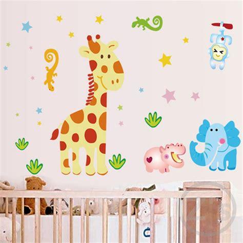 cartoon giraffe wall stickers  nursery baby room
