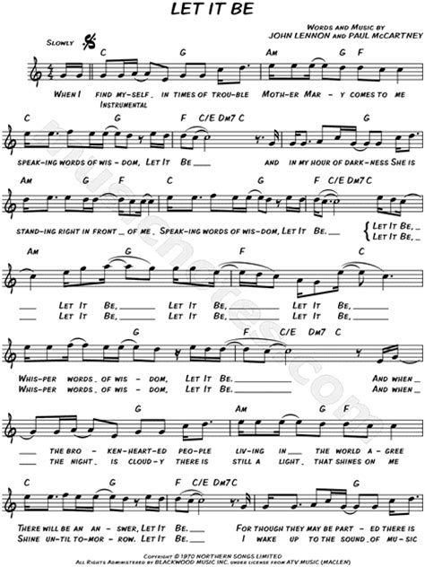 the beatles quot let it be quot sheet leadsheet in c major transposable print