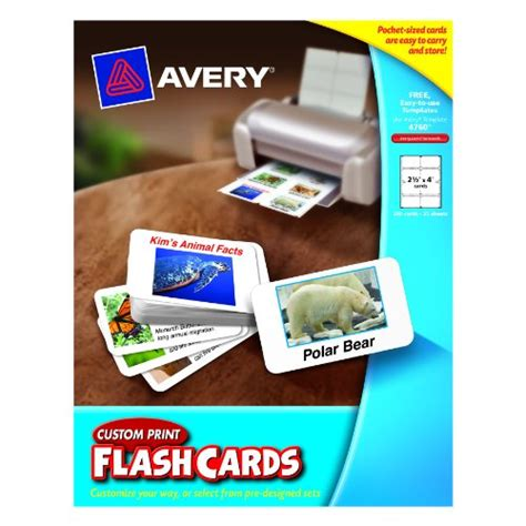 Avery Custom Print Flash Cards Punched Avery Printable Tags With Strings For Inkjet Printers 2 X