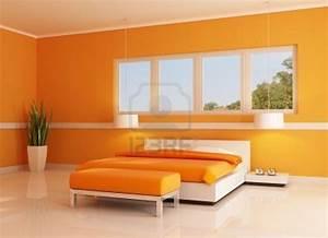 White Orange Bedroom Home Deco Plans