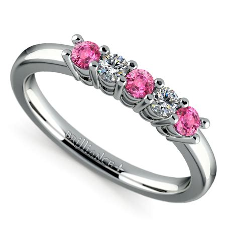 Five Diamond & Pink Sapphire Wedding Ring In White Gold (1