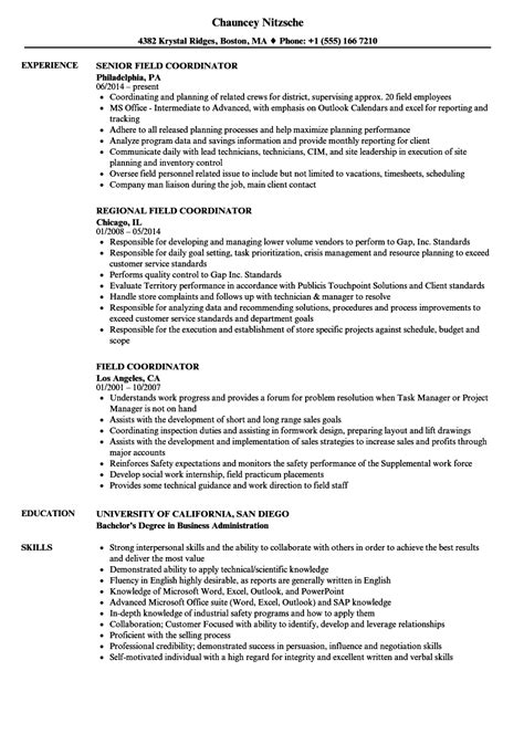 Coordinator Resume by Field Coordinator Resume Sles Velvet