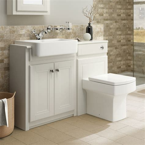 Traditional Bathroom Vanity Unit Basin Sink Back To Wall