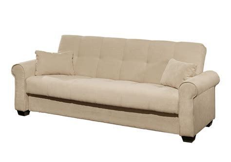 Furniture Dark Browb Microfiber Tufted Sofa Bed With