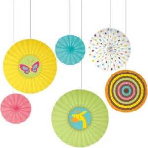 paper fans party city fisher price jungle baby shower paper fan decorations 6ct