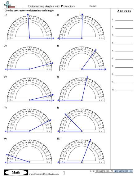 using a protractor worksheet determining angles with protractors worksheet idea angles worksheet protractor math worksheets