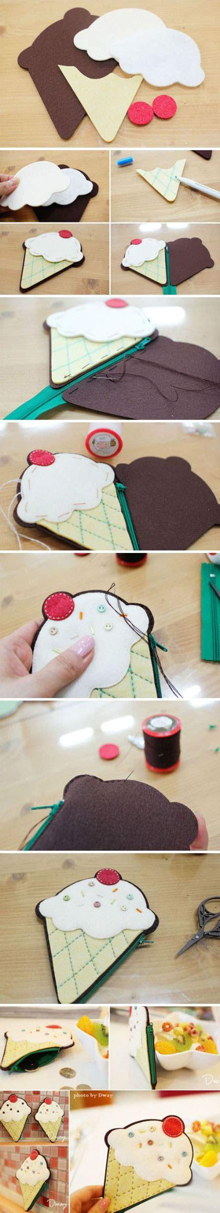 felt ice cream purse  tutorials