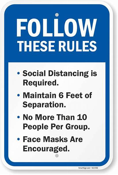 Sign Distancing Social Face Masks Rules Follow