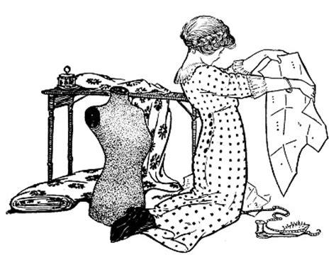 vintage sewing clip art girl  pattern  dress form