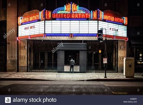 The Entrance Of A Cinema Hotel Or Theatre by A Nighttime Exposure In Front Of An Illuminated