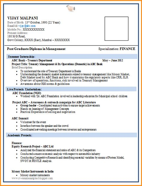 Resume Format For Freshers by 11 Freshers Resume Sles In Word Format Invoice